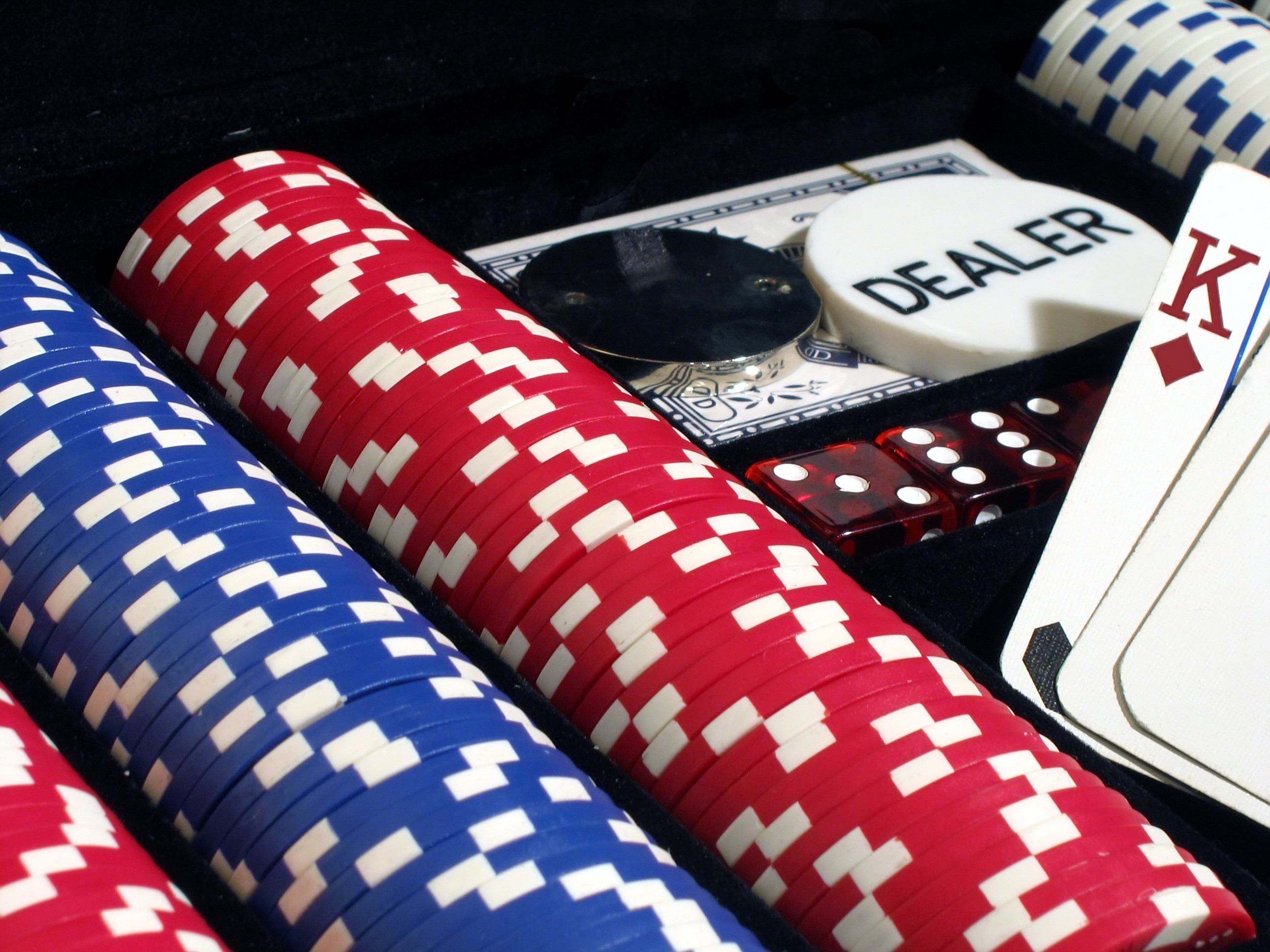 Poker chips, cards, dice